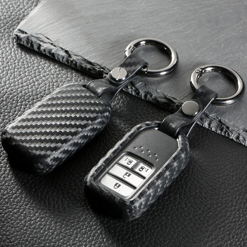 Carbon Fiber Key Case For Car 4 Buttons For Honda Accord Civic Crv City Jazz Elantra Ix35 Santafe Car Key Cover keyyou car style remote key fob case shell 2 buttons for honda civic crv accord jazz