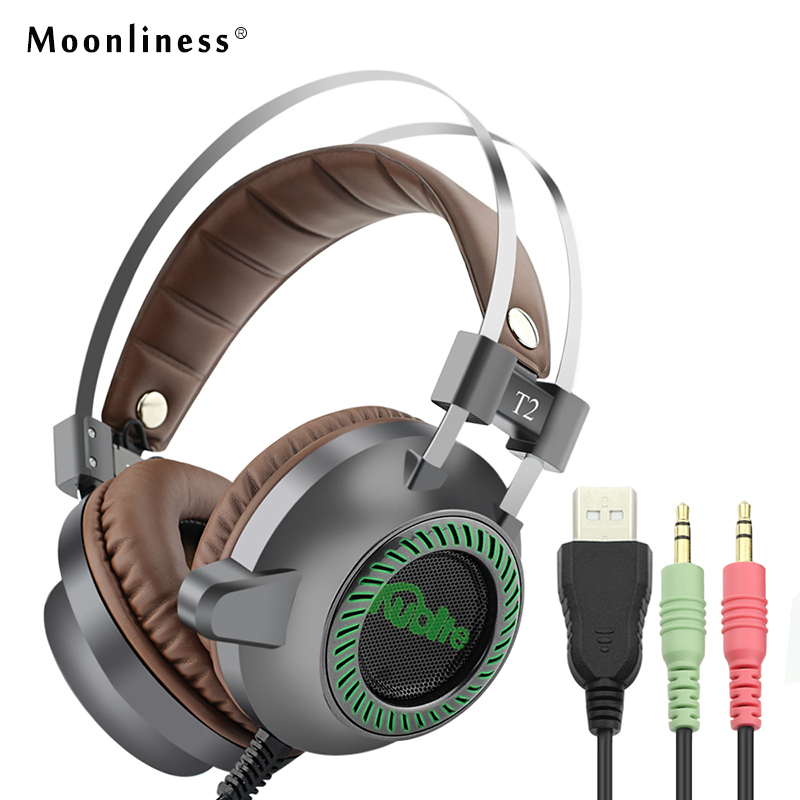 Moonliness USB Game Headphone T2 Sound Stereo Gaming Headphones Casque 7.1 Surround Stereo Headset with LED Lights Gamer Mic high quality sound effect gaming headset with led light over ear glowing stereo headphones with mic for computer pc laptop gamer