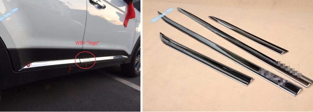 New Style For Hyundai Creta IX25 2015 2016 2017 ABS Side Door Body Lid Strip Molding Decoration Cover Exterior Trim 4 Piece accessories for chevrolet camaro 2016 2017 abs carbon fiber style the co pilot central control strip molding cover kit trim page 8