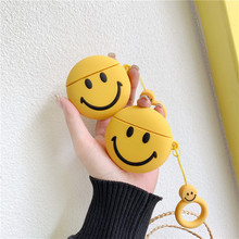 For AirPods 2 Case Cute Cartoon Funny Emoji Smile Face Earphone Apple Airpods Soft Silicone Protect Cover Funda