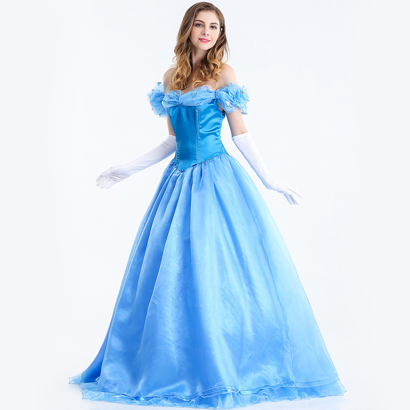 Free shipping 2018 Halloween costumes adult cos dance evening dress Cinderella Cinderella Princess blue long dress JQ-1149