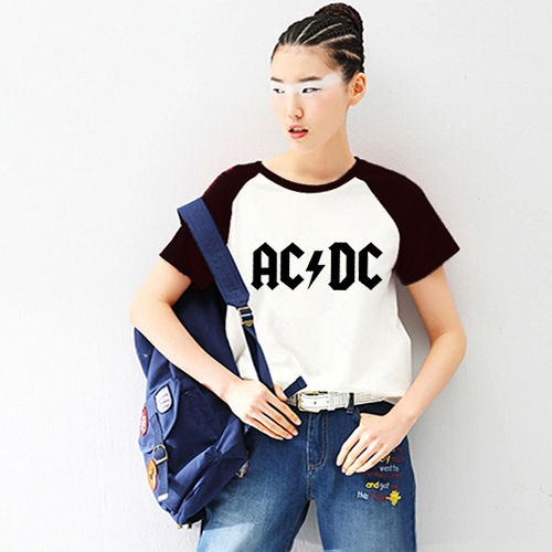 Unisex Loose Style ACDC AC DC Rock Punk Women PVC Letter Print T-shirt Female Raglan Short Sleeve Printed Tshirt Woman T-shirts