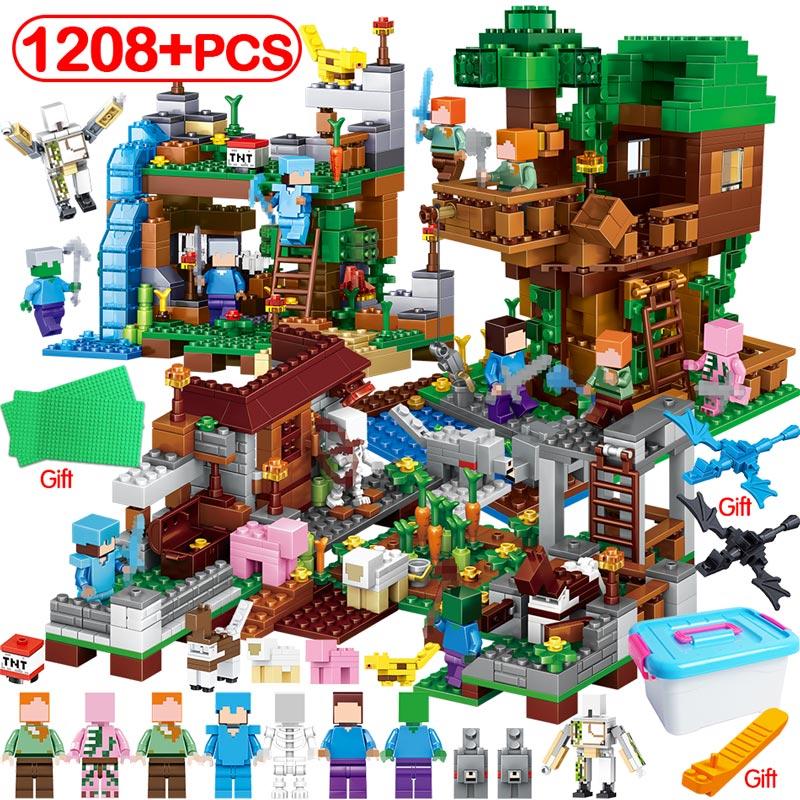 1208 pièces Minecrafted arbre maison cascade blocs de construction LegoING My World Village Warhorse Figures ensembles éducatifs jouets enfants