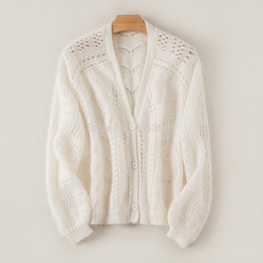 Wełna moher mieszanka sweter z dekoltem w kształcie litery V drążą Knitting sweter Top kobiety szary sweter z dzianiny z przodu, zapinana na guziki i długie rękawy w Swetry rozpinane od Odzież damska na  Grupa 1