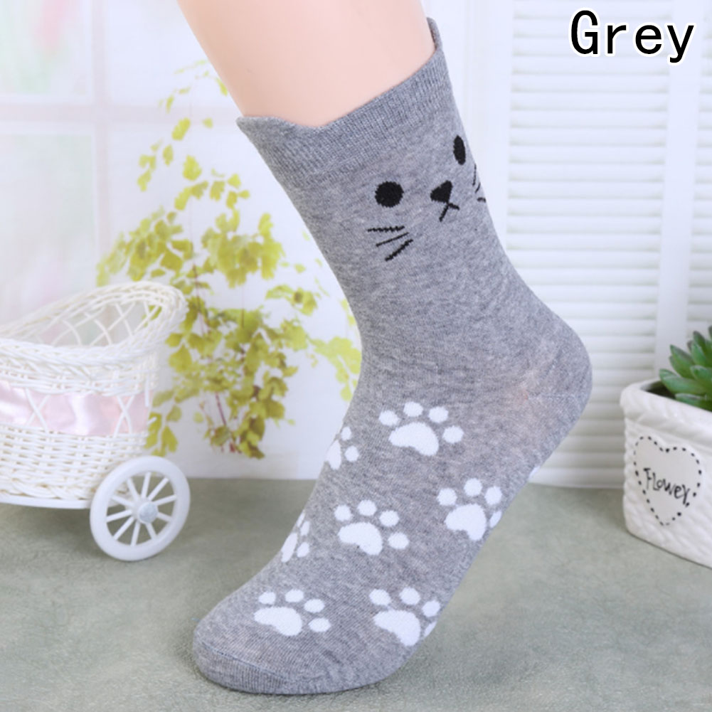 Candy Color Cute Cat Women Girl  Cotton Socks Korean Tube Harajuku Funny Casual Cheap Novelty Art Vintage Sock White Yellow