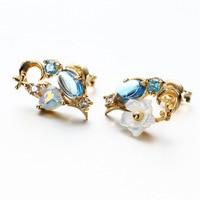 Elegant 9K Pure Real Yellow Gold Sappire Shell Flower Pierced Earrings for Women Girl Fancy Solid Crystal Stud Fine Jewelry Gift