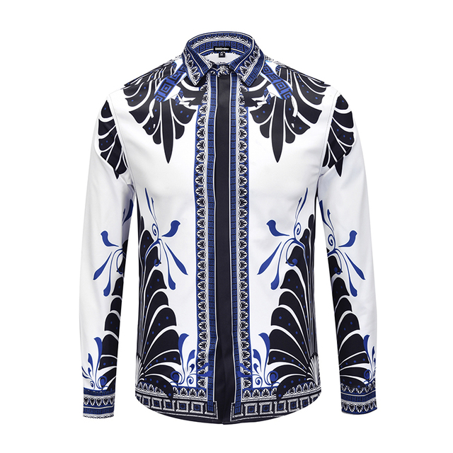 Seestern brand clothing men s shirt printed butterfly wings European  American fashion design young Business leisure night 4fb21d6cd