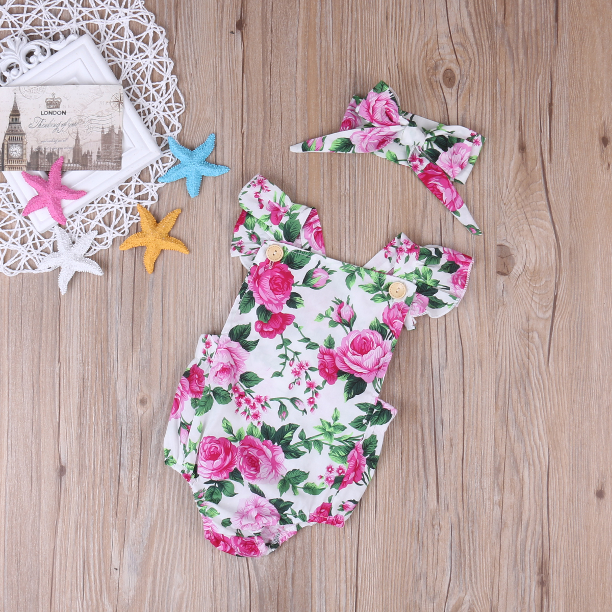 Baby Girl Spaghetti straps Halter Romper Headbamd Jumpsuit Floral Sunsuit Outfits 2 pieces Set for Christmas Baby Girl Spaghetti straps Halter Romper + Headbamd Jumpsuit Floral Sunsuit Outfits 2 pieces Set for Christmas