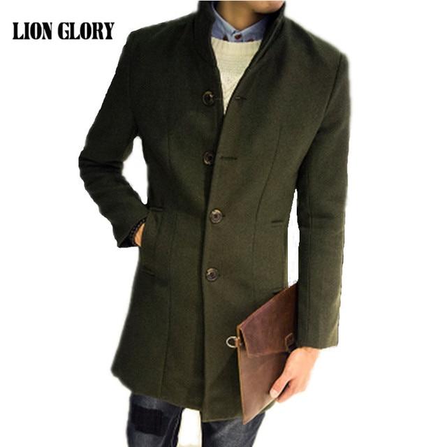 205381c4ffe43 Men s Long Woolen Coat Winter Wool Men s New Autumn and Winter Solid Color  Slim Casual Windbreaker