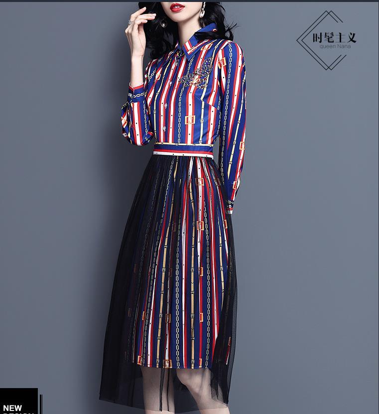 Printemps/été nouvelle chemise jupe mode gaze jupe imprimer robe-in Robes from Mode Femme et Accessoires    1