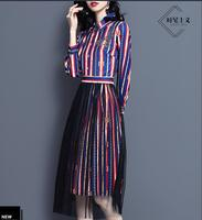 Spring/summer new shirt skirt fashion gauze skirt print dress