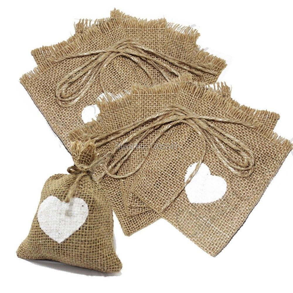Hessian Love Hearts Burlap Favor Gift Bags Jewelry Bag Rustic Wedding ...