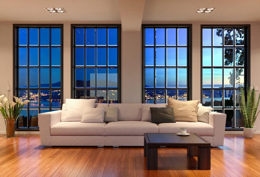 living night window sofa interior backdrops scenic evening apartment studio photocall laeacco loft inside