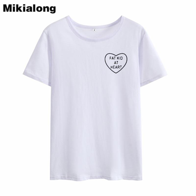 Mikialing At Heart Pocket Harajuku Women Tshirt Top Summer 2018 Basic Printed T Shirt Women Cotton White Tee Shirt Femme