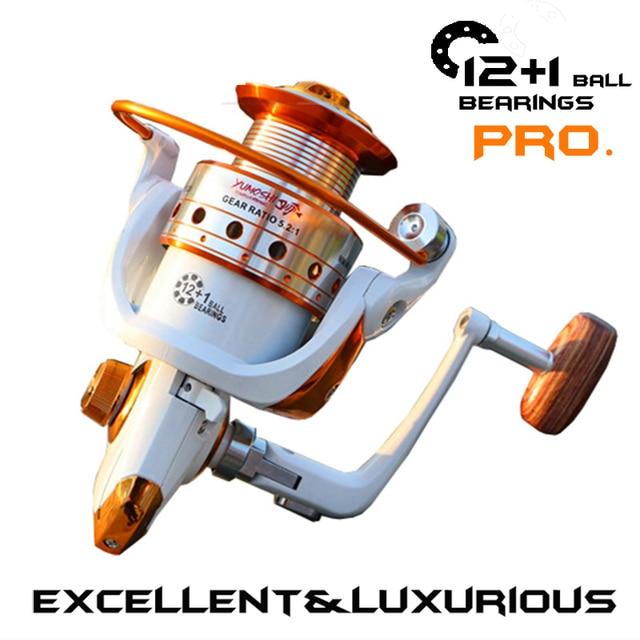 YUMOSHI Brand High quality Fishing reel 13 BB 5.5:1 Gear Ratio Spinning reel Metal main body foot Super strong reel +  Rod Combo