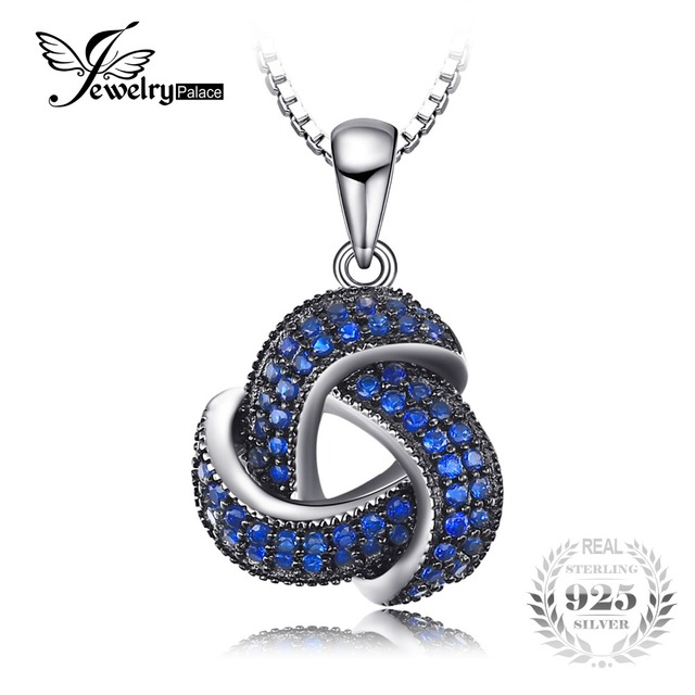 JewelryPalace Created Blue Spinel Flower Pendant Necklace 925 Sterling Silver Je