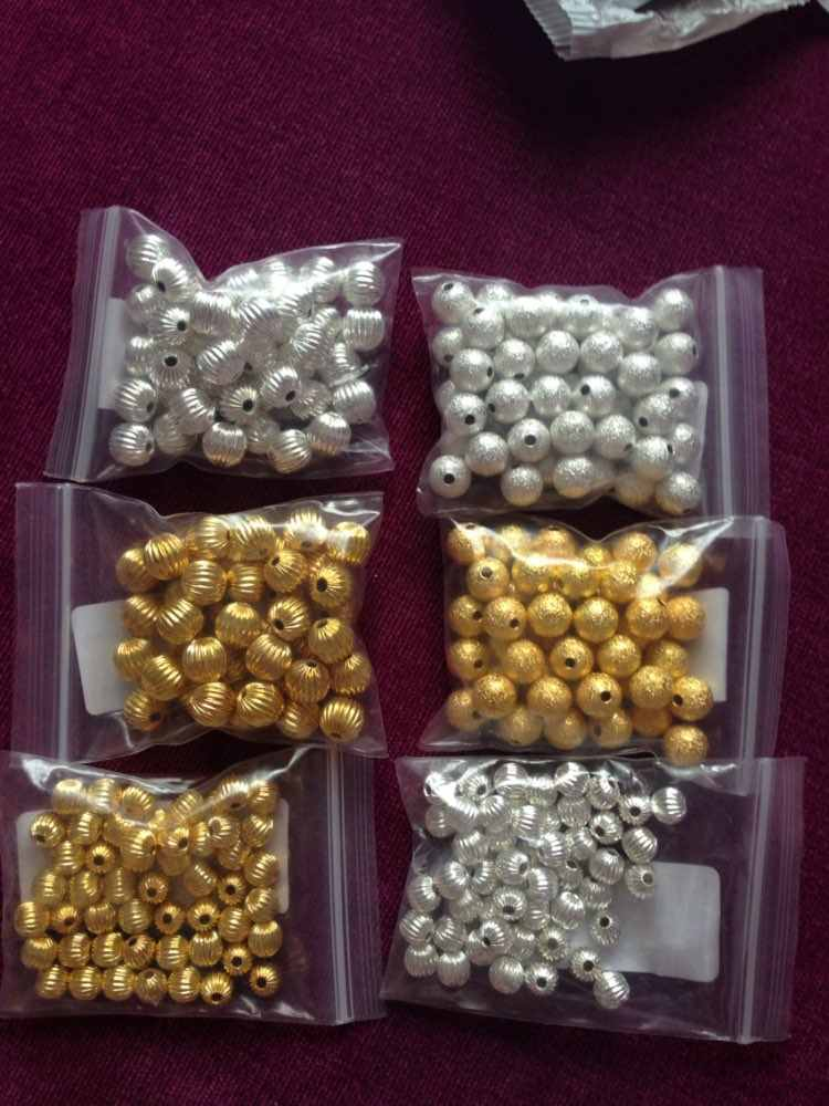 Sale 8MM 50 About Jewelry Silver Beads Color Space Loose Making For Decoration Bracelet DIY Round Gold Necklace Scrub pcs/lot