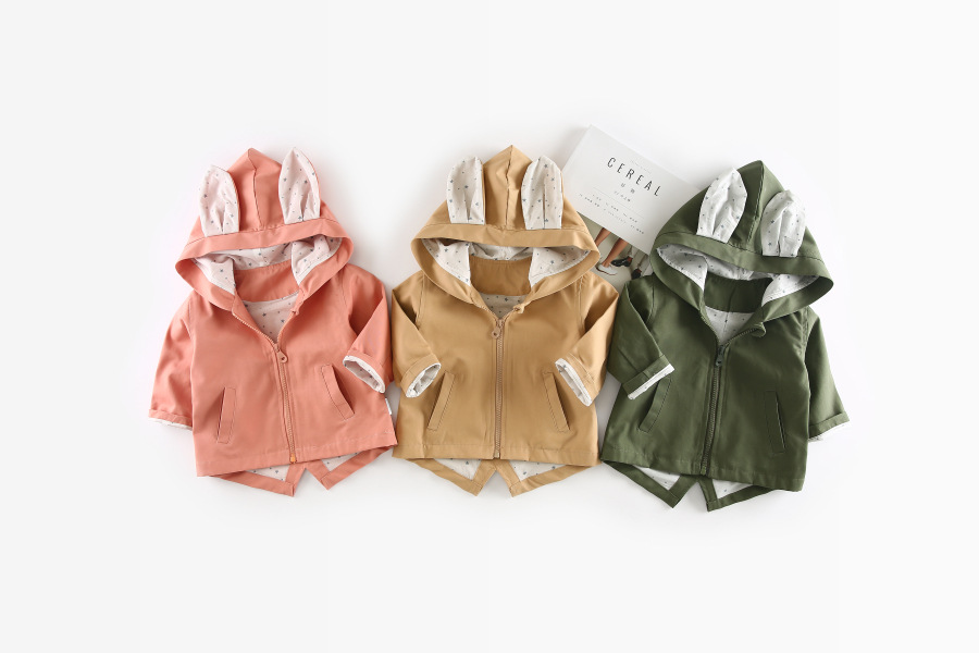 Y01-X534 Children kid's boys girls Clothing baby spring autumn comfortable hoodedStar rabbit ears windbreaker coat 1pcs