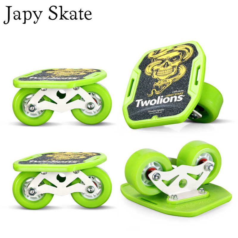 Japy Skate Classic Dazzle Drift Board Silver Aluminum Free Line Drift Skates Scrub Patines Antislip Skateboard Deck 82A Wheels