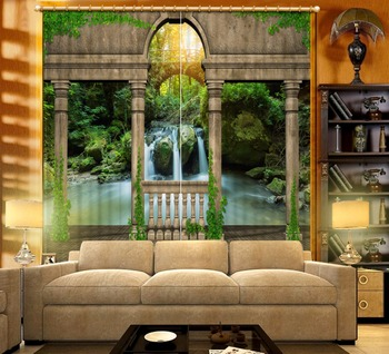 Curtains Waterfall scenery blackout curtains for the bedroom Curtains Living Room Bedroom Kitchen 3d Window curtain