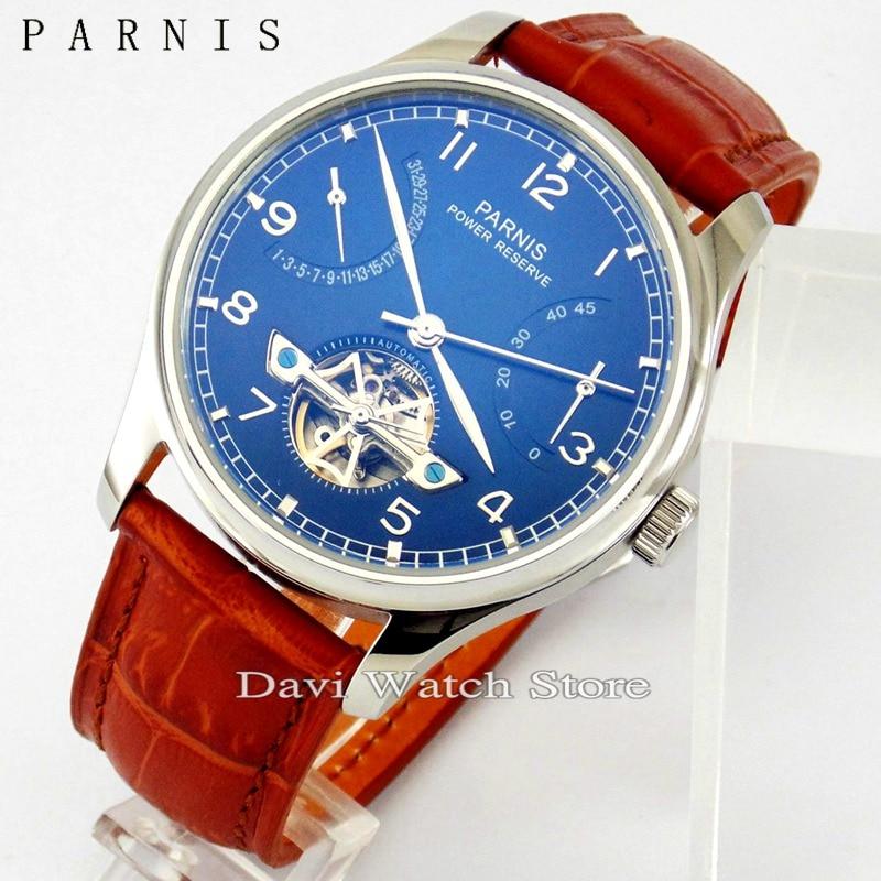 Parnis 43mm esfera azul caja de acero reserva de energía automático ST2505 reloj para hombre-in Relojes mecánicos from Relojes de pulsera    1
