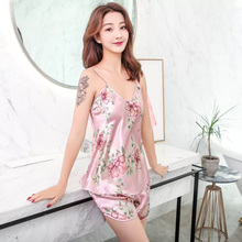Summer Two Piece Set Sleepwear Multicolor sleeveless v-neck flowers Top and Drawstring Shorts Pajama Sets sleeveless knotted top and pockets shorts set