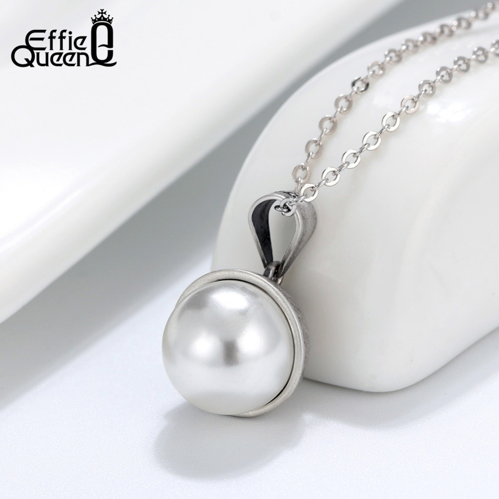 Effie Queen 925 Silver Top Simulated Pearl Necklace Engrave Letter Pendant For Women Oxidized Silver Necklaces Jewelry BN146 in Pendants from Jewelry Accessories