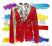 XS-XXXL 2019 new European and American male singer suit costumes nightclub mens DJ rock punk blazers clothing