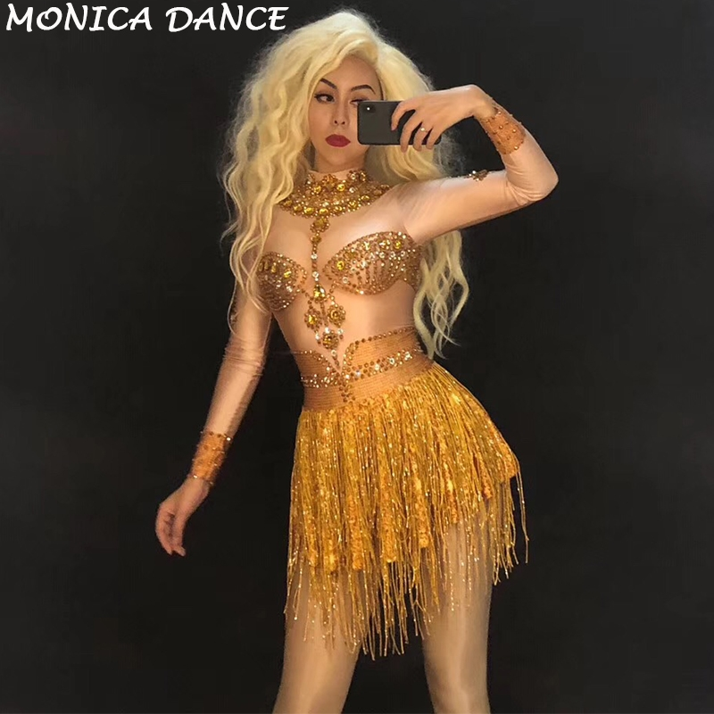 Sparkly Gold Rhinestones Tassel Dress Dance Costume Women s Birthday Party  Celebrate Outfit DJ Singer Dance Long Sleeves Dress ac514274389a