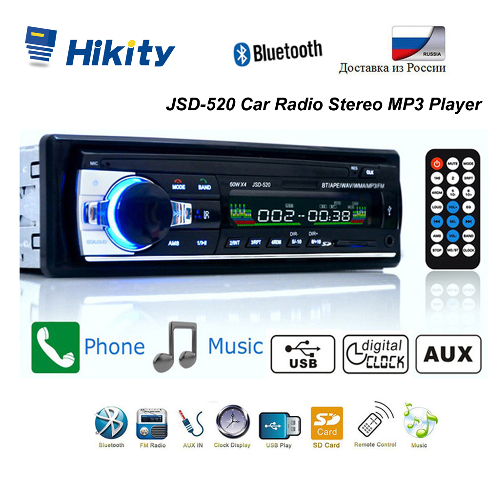 Hikity Bluetooth Autoradio estéreo 12V del coche de Radio FM Aux-en la entrada del receptor USB SD JSD-520 en el tablero 1 din coche MP3 reproductor Multimedia