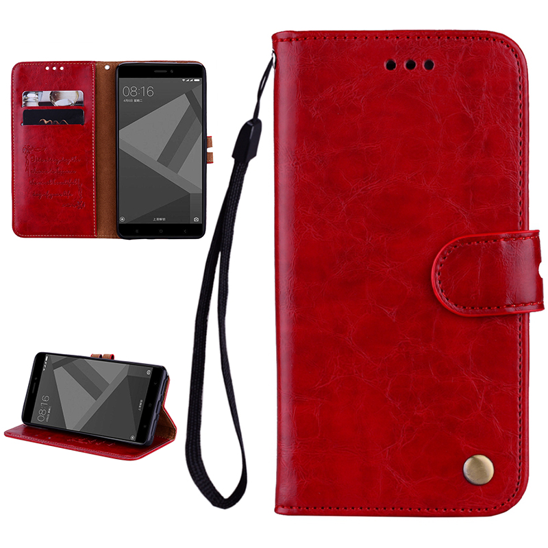 Leather Wallet Case For Redmi 5 4X Note