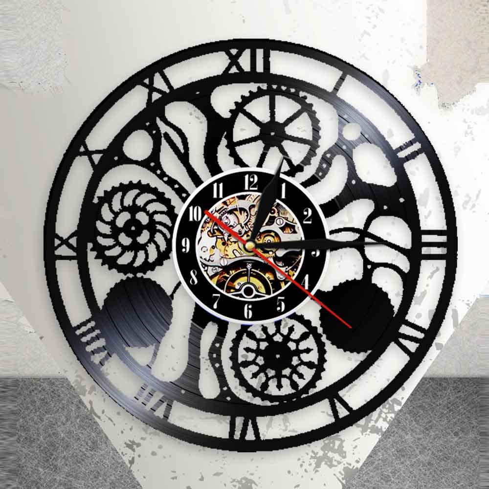 Gears and Cogs Wall Clock Cogwheels Science Art Artificial Intelligence Steampunk Neuroscience Art Vinyl Record Wall Clock|Wall Clocks| |  - title=