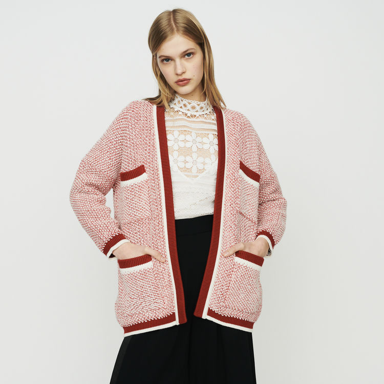 Women Sweater 2019 Spring Contrast Color Multi pocket Loose Lazy Fashion Knit Cardigan Sweater