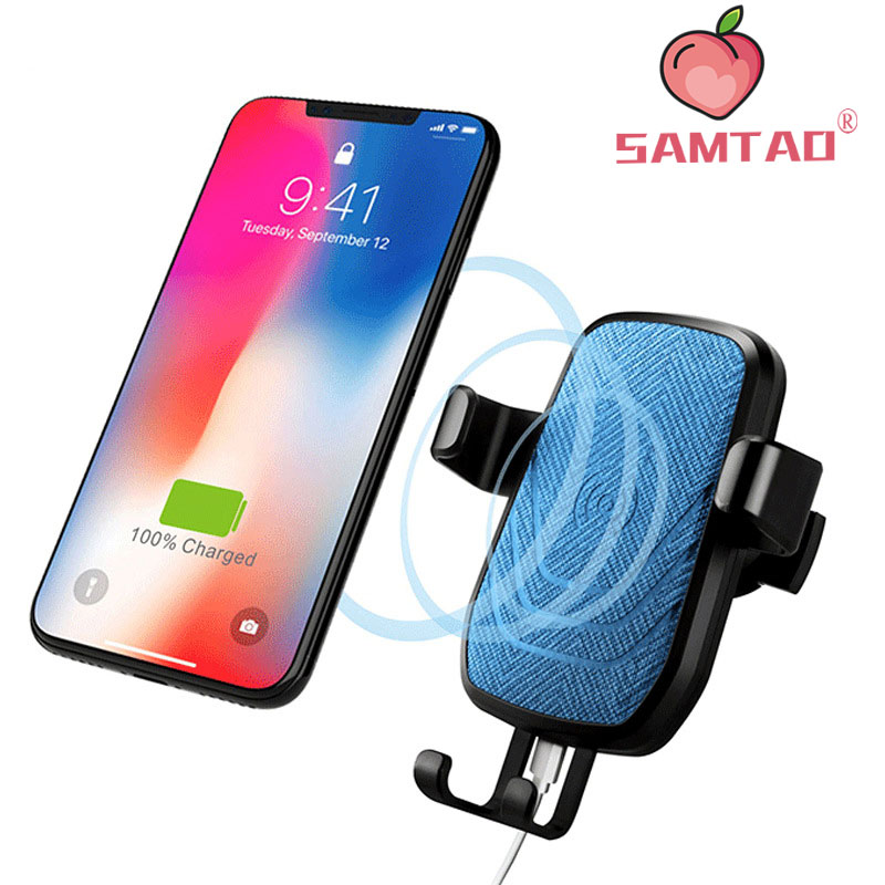 SAMTAO 10W Car Automatic Qi Fast Wireless Charger Mobile Phone Holder for iPhone XS Max XR X 8 Plus Samsung S9 S8 S7 S6 Note 9 8