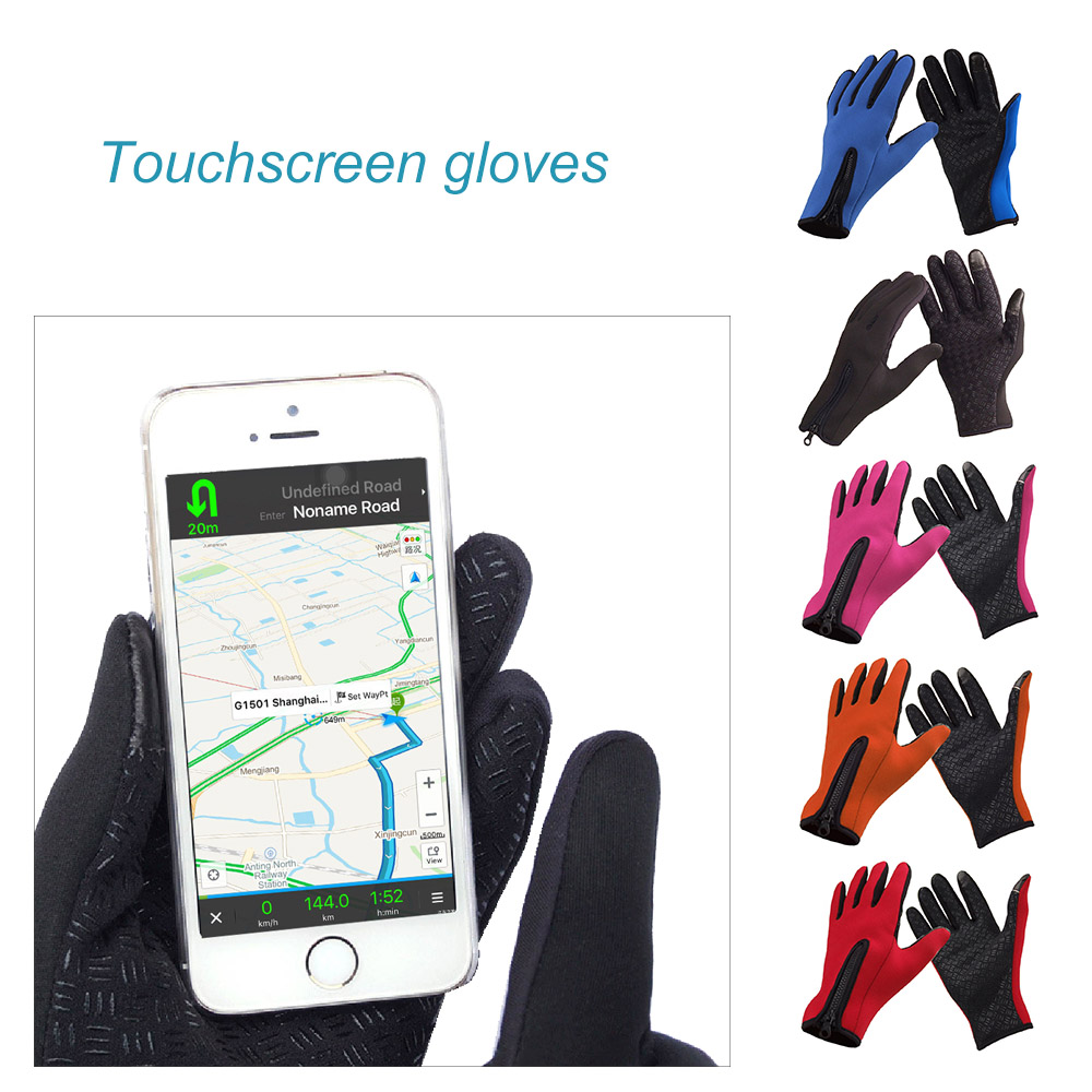 Unisex Snowboard Skiing Riding Cycling Bike Sports Gloves Outdoor Windproof Winter Thermal Warm Touch Screen Silicone Palm