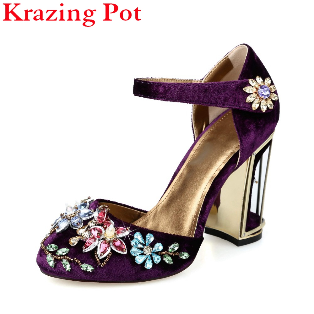 купить Fashion Beading Flower Crystal Gladiator Birdcage High Heels Round Toe Ankle Strap Velvet Strange Women Runway Brand Shoes L70 недорого