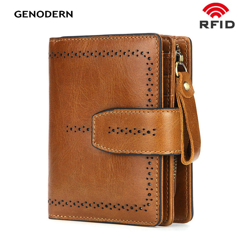 GENODERN RFID Fashion Genuine Leather Women Wallet With Coin Purse Hollow Out Lady Purses Female Money Bag Short Purse For Lady