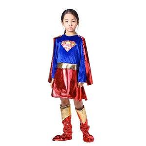 Image 2 - ילדים סופר בנות שמלת קוספליי תלבושות סופרמן סופרוומן חצאית חליפת נעלי סופר hero פלא ילדי בנות סופר Hero בגדים