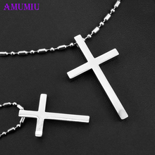 AMUMIU Silver Stainless Steel Couple Pendant For Christian Classic Cross Couple Jewelry P017 boxpop lb p017 35