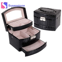 High Grade Jewelry Display Box 3 Layer Ring Necklace Jewelry Carrying Case Crocodile Leather Automatic Jewelry