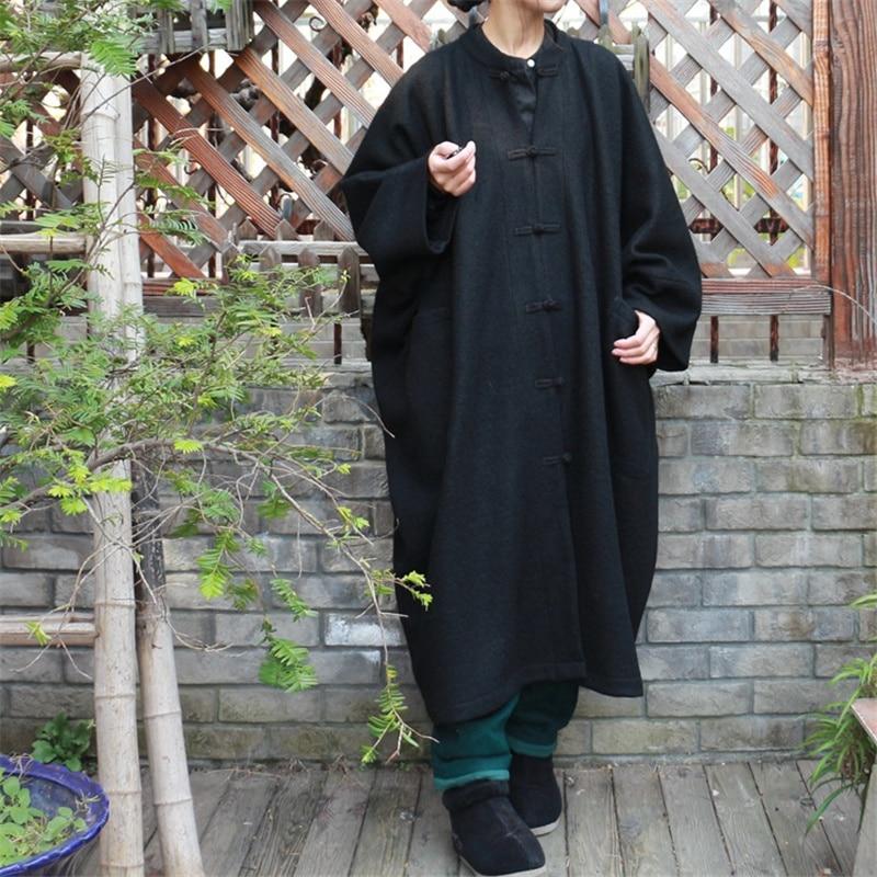 Femmes Vêtements Taille souris Johnature Manches Manteau Manteaux Nouvelle Hiver En Pour Qualité Chauve 2018 Supérieure Laine Vintage De Lâche Bouton Noir Grande dqTWaqn
