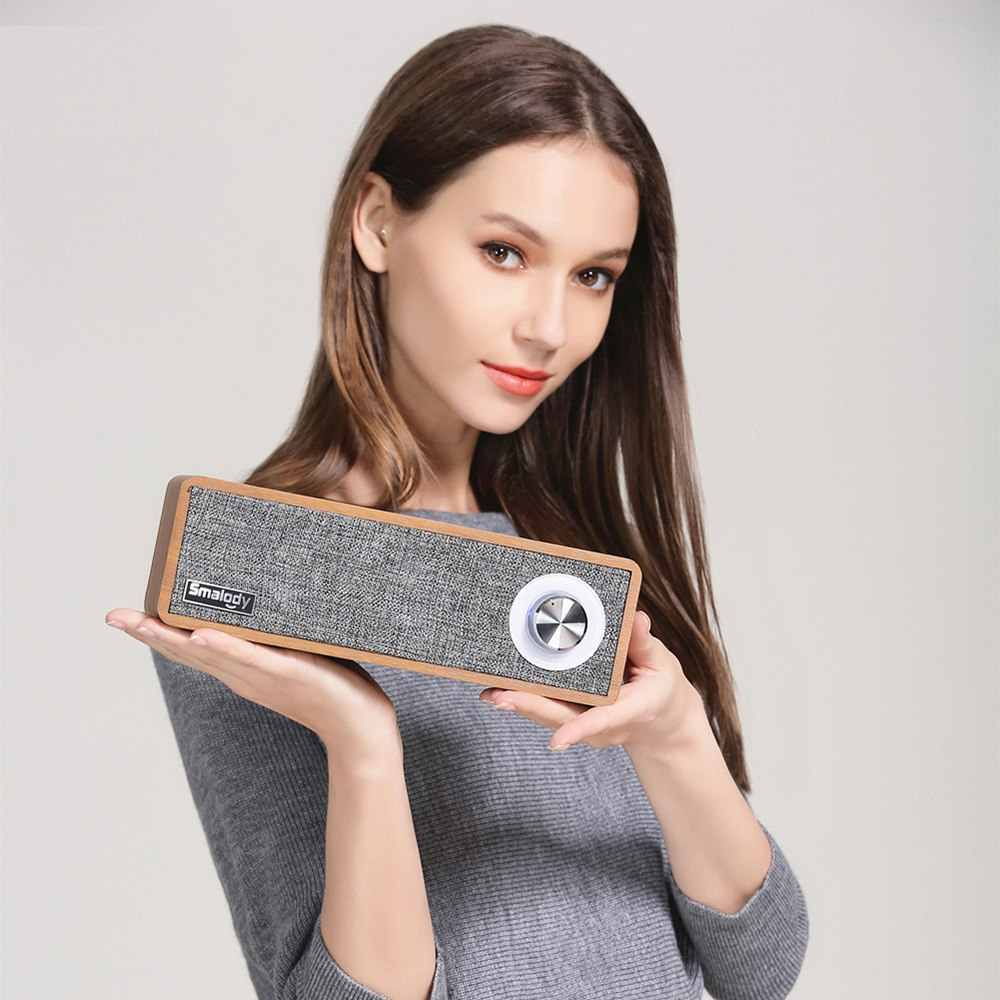 Smalody Kayu Portabel Speaker Nirkabel Bluetooth 4.2 HIFI Speaker 2.1 Stereo Mini Subwoofer Soundbar MP3 Musik Loudspeaker