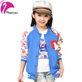 New Brand 2016 Girls Coats Spring Printed Floral Cardigan Jacket Sports Cotton Kids Baseball Uniform Children's Clothes