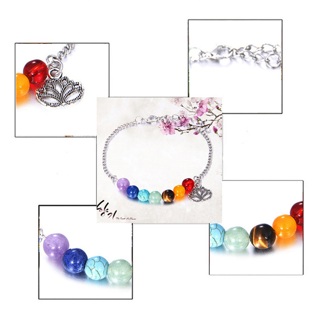 Fashion Elegant Lotus Colorful 7 Chakra Yoga Bracelet Healing Balance Beads Reiki Natural Stones Bracelet Women New Hot Jewelry