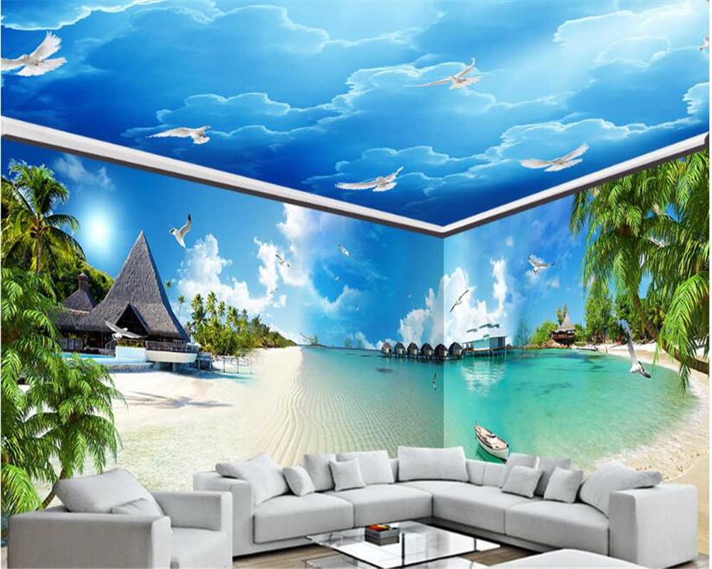 Beibehang Advanced Aesthetic Tiga Dimensi Kertas Dinding Biru Biru Laut Pantai Pantai Penuh Latar Belakang Rumah Mural 3d Wallpaper Wallpaper Aliexpress