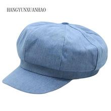 Womens Cowboy Flat Cap Simple Retro Washed Denim Newsboy Caps Sombrero De Mujer Elegant Vintage Octagonal Hat For Women