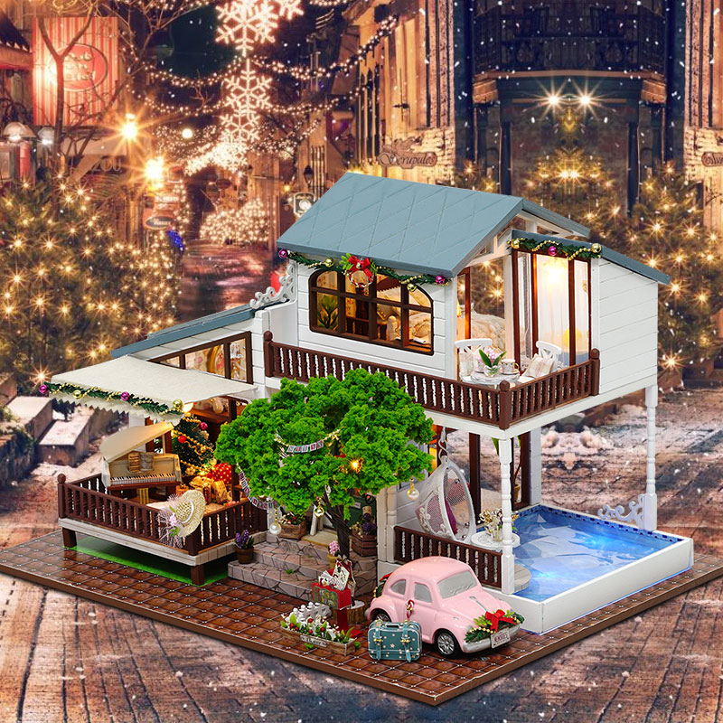 3D Doll House DIY Hand Assembled Architectural Wooden Furniture Decoration Doll Houses Model Toys for Children Birthday Gifts d030 diy mini villa model large wooden doll house miniature furniture 3d wooden puzzle building model