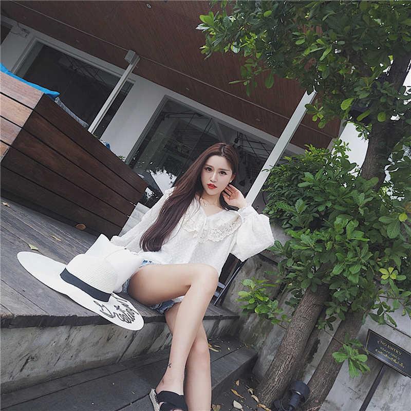 RUGOD 2019 новые корейские весенне-летние женские топы и блузки женские повседневные открытые рубашки с длинными рукавами кимоно Blusa Feminina