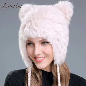 Image 2 - New Lovely Bear Ear Skullies Beanies Genuine Rex Rabbit Fur Fabric Knitted Hats Winter Warm Soft Solid Caps Snow Women Hat