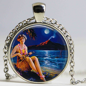 Handmade Fine Jewelry Silver Color Chain 25 mm Glass Dome Pendant Hawaiian Hula Girl with Ukelele and Surfer Necklace Pendant image